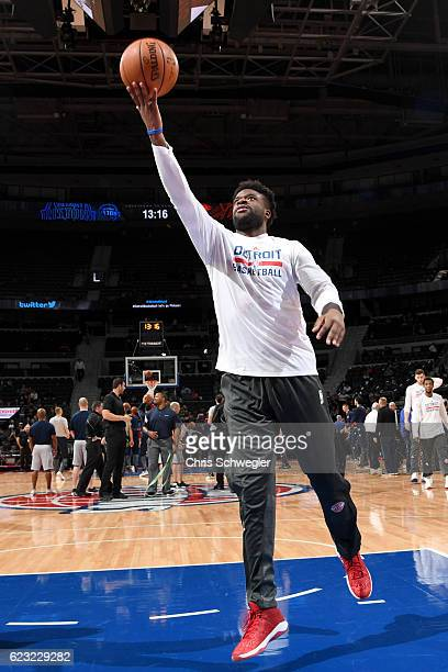 Reggie Bullock of the Detroit Pistons warms up before the game against the Oklahoma City Thunder on November 14 2016 at The Palace of Auburn Hills in...