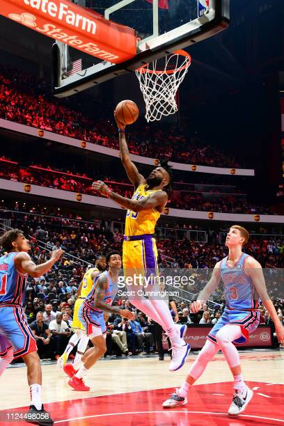 Reggie Bullock of the Los Angeles Lakers shoots the ball against the Atlanta Hawks on February 12 2019 at State Farm Arena in Atlanta Georgia NOTE TO...