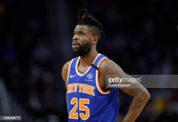 Reggie Bullock of the New York Knicks during the first half of a game against the Detroit Pistons at Little Caesars Arena on February 8 in Detroit...