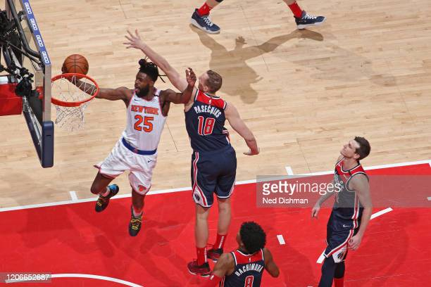 Reggie Bullock of the New York Knicks shoots the ball against the Washington Wizards on March 10 2020 at Capital One Arena in Washington DC NOTE TO...