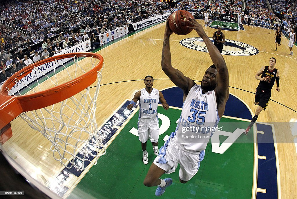 Reggie Bullock #35 of the North Carolina Tar Heels goes up for a dunk against the Maryland Terrapins during the semifinals of the Men's ACC Basketball Tournament at Greensboro Coliseum on March 16, 2013 in Greensboro, North Carolina.