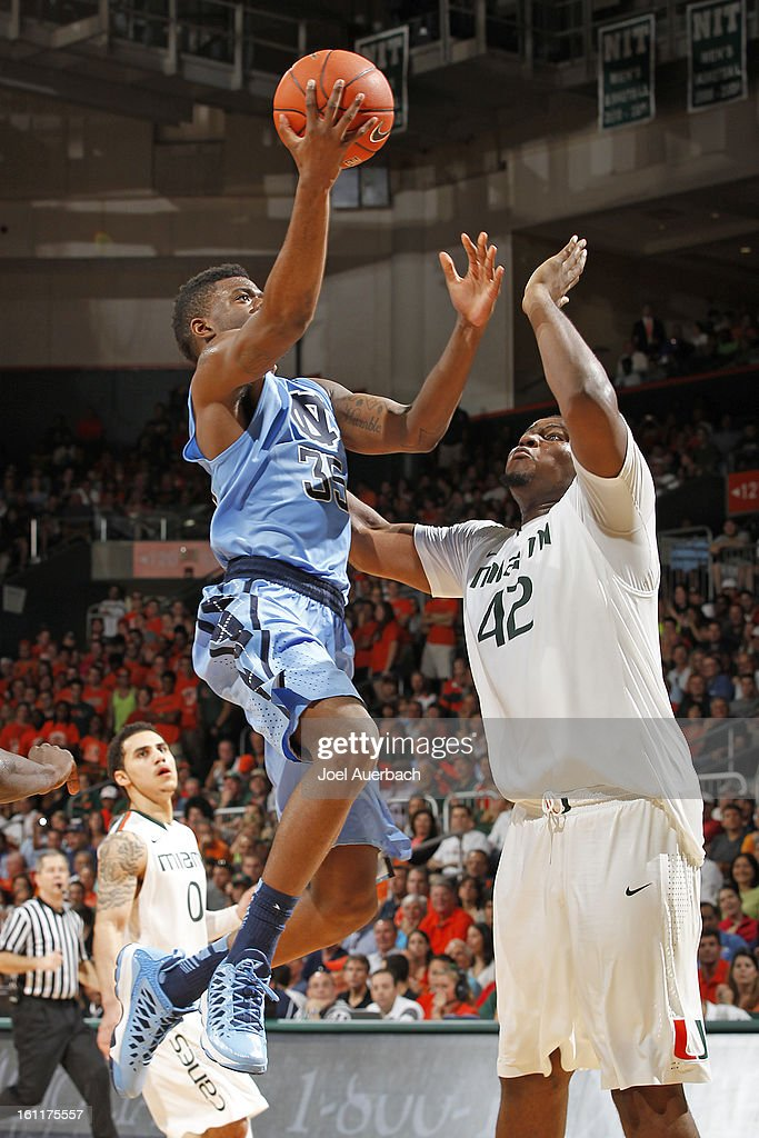 Reggie Bullock #35 of the North Carolina Tar Heels shoot the ball over Reggie Johnson #42 of the Miami Hurricanes on February 9, 2013 at the BankUnited Center in Coral Gables, Florida. Miami defeated North Carolina 87-61.