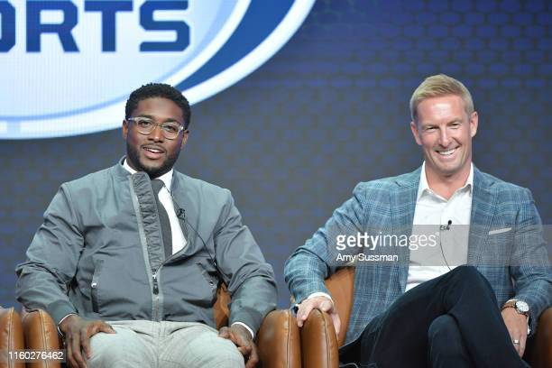 Reggie Bush and Joel Klatt of Fox Sports speak during the Fox segment of the 2019 Summer TCA Press Tour at The Beverly Hilton Hotel on August 7, 2019...