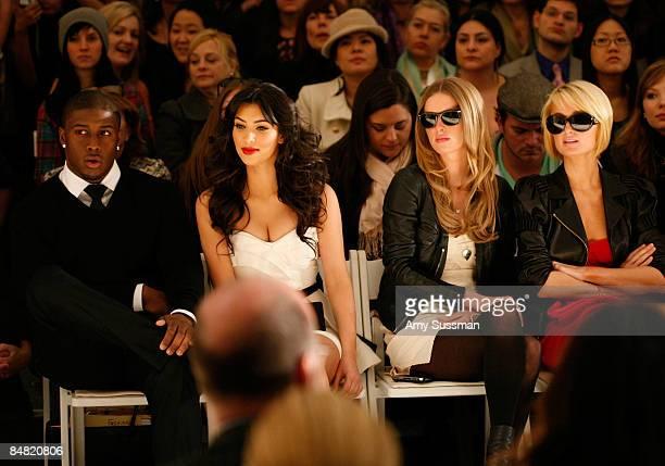 Reggie Bush Kim Kardashian Nicky Hilton and Paris Hilton attend the Tracy Reese Fall 2009 fashion show during MercedesBenz Fashion Week in the Salon...