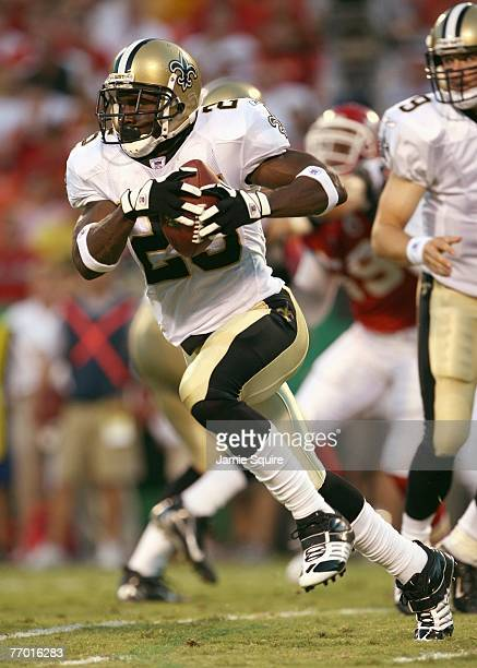Reggie Bush of the New Orleans Saints carries the ball during the preseason game against of the Kansas City Chiefs on August 23 2007 at Arrowhead...