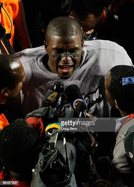 Reggie Bush of the New Orleans Saints celebrates after defeating the Indianapolis Colts during Super Bowl XLIV on February 7 2010 at Sun Life Stadium...