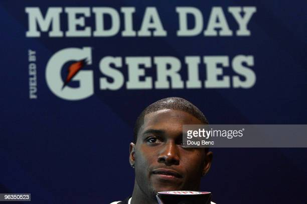 Reggie Bush of the New Orleans Saints speaks to members of the media during Super Bowl XLIV Media Day at Sun Life Stadium on February 2 2010 in Miami...