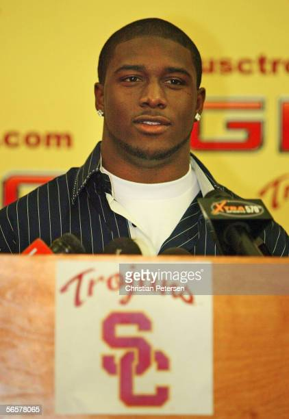 Reggie Bush of the USC Trojans announces that he will forgo his senior year and enter the 2006 NFL Draft during a press conference on January 12 2006...