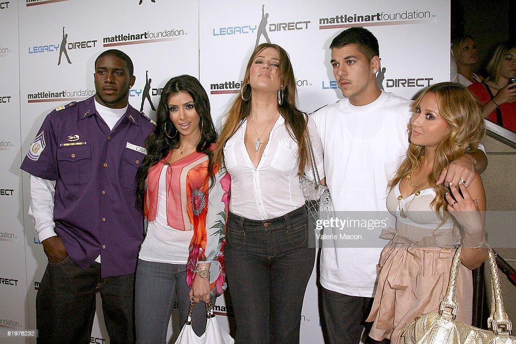 Reggie Bush, TV Personnality Kim Kardashian, Khloe Kardashian, Robert Kardashian and Robert Kardashian attend the 2nd Annual Celebrity Bowling Night held by Matt Leinard on July 17, 2008 in Hollywood, California.