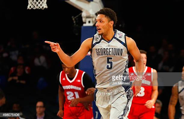 Reggie Cameron of the Georgetown Hoyas reacts after hitting a three point shot in the first half against the Wisconsin Badgers during the 2K Classic...