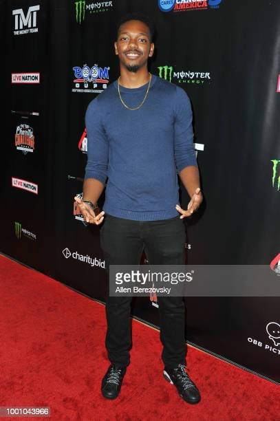 Reggie Couz attends Monster Energy Outbreak $50K Charity Challenge celebrity basketball game at UCLA on July 17 2018 in Los Angeles California
