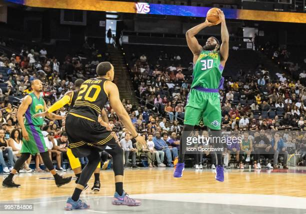 Reggie Evans cocaptain of 3 Headed Monsters takes a jump shot near the foul line during game 4 in week three of the BIG3 3on3 basketball league on...