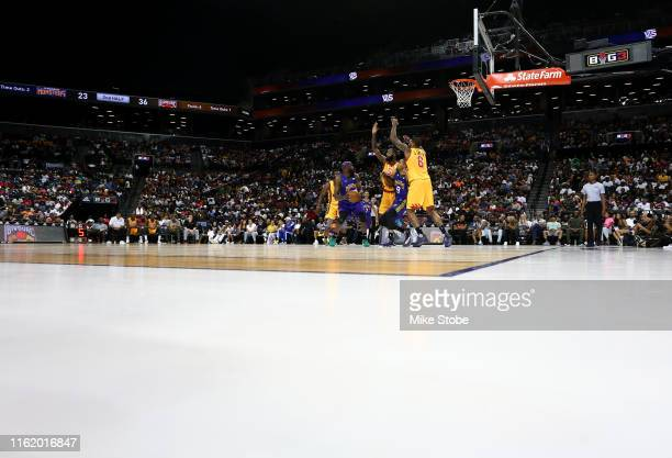 Reggie Evans of 3 Headed Monsters handles the ball against Bivouac during week four of the BIG3 three-on-three basketball league at Barclays Center...