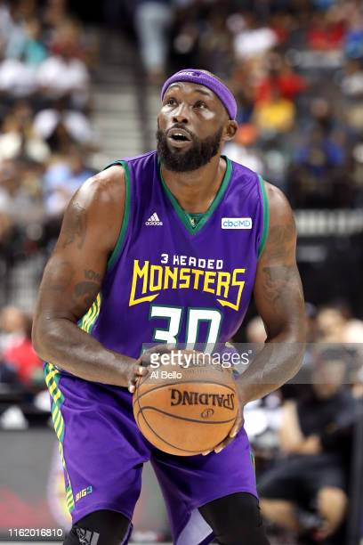 Reggie Evans of 3 Headed Monsters shoots a free throw against Bivouac during week four of the BIG3 three-on-three basketball league at Barclays...