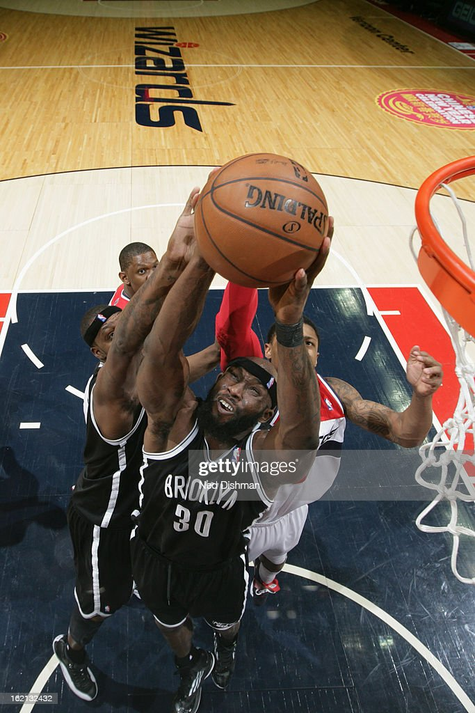 Reggie Evans #30 of the Brooklyn Nets grabs the rebound against the Washington Wizards on February 8, 2013 at the Verizon Center in Washington, DC.