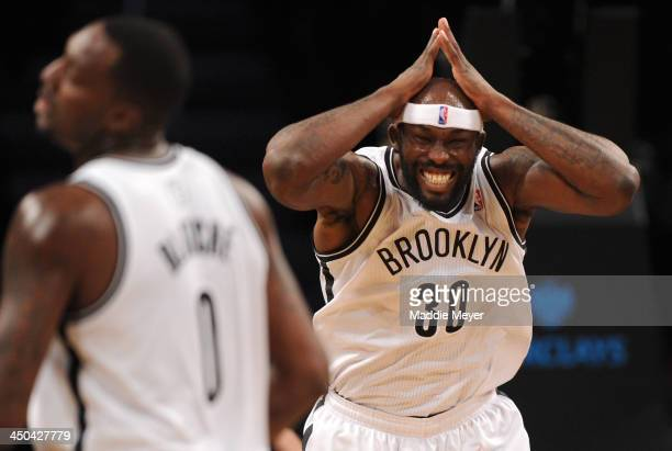 Reggie Evans of the Brooklyn Nets reacts after missing a shot against the Portland Trail Blazers during the second quarter at Barclays Center on...