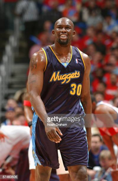 Reggie Evans of the Denver Nuggets walks upcourt against the Los Angeles Clippers in game one of the Western Conference Quarterfinals during the 2006...