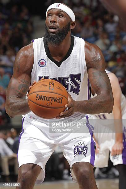 Reggie Evans of the Sacramento Kings attempts a free throw shot against the Toronto Raptors on October 7 2014 at Sleep Train Arena in Sacramento...