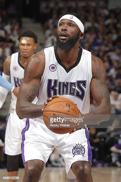 Reggie Evans of the Sacramento Kings attempts a free throw shot against the Denver Nuggets on November 5 2014 at Sleep Train Arena in Sacramento...