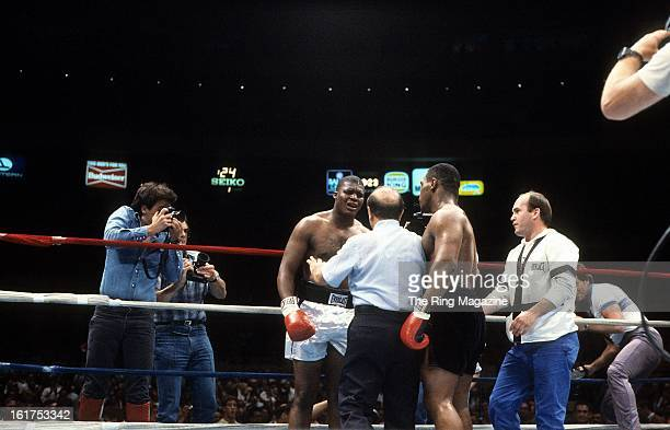 Reggie Gross is upset that the referee Johnny LoBianco stops the fight against Mike Tyson at Madison Square Garden in New York New York Mike Tyson...
