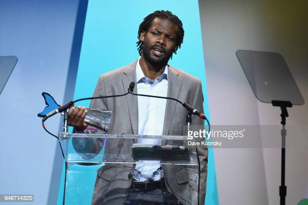Reggie Harris accepts Activism award onstage in honor of Erica Garner during the 10th Annual Shorty Awards at PlayStation Theater on April 15, 2018...