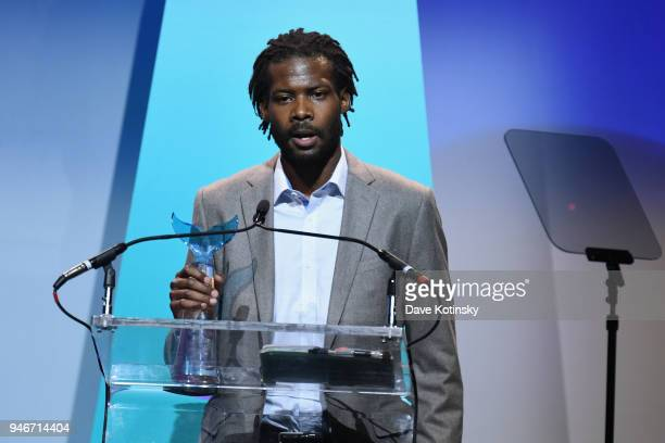 Reggie Harris accepts Activism award onstage in honor of Erica Garner during the 10th Annual Shorty Awards at PlayStation Theater on April 15 2018 in...