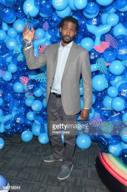 Reggie Harris poses with the Activism Award in honor of Erica Garner during the 10th Annual Shorty Awards at PlayStation Theater on April 15 2018 in...
