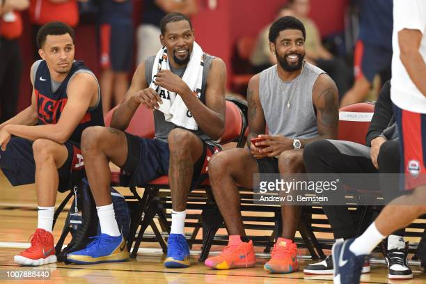 Reggie Hearn Kevin Durant and Kyrie Irving look on during USAB Minicamp at Mendenhall Center on the University of Nevada Las Vegas campus on July 27...