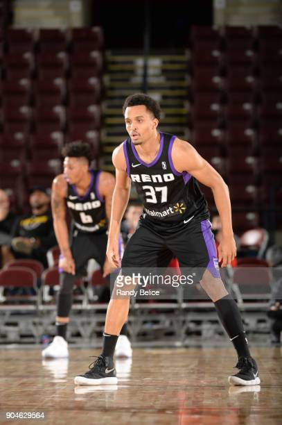 Reggie Hearn of the Reno Bighorns goes on the defense against the Delaware 87ers during NBA GLeague Showcase Game 26 on January 13 2018 at the...