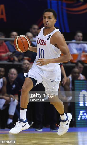 Reggie Hearn of United States drives the ball during the FIBA Americup semi final match between US and Virgin Islands at Orfeo Superdomo arena on...