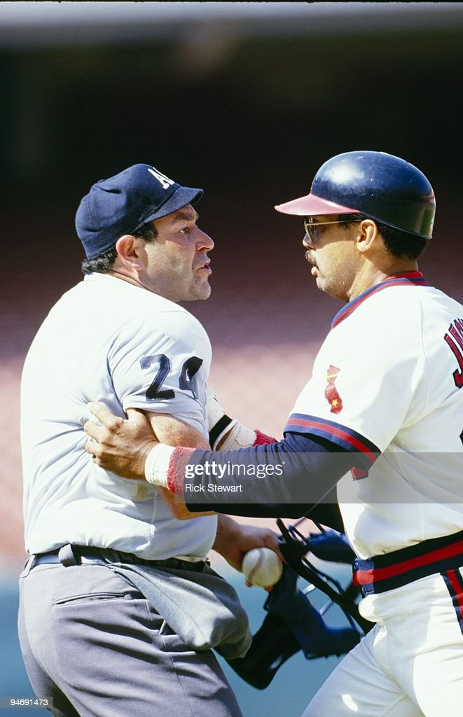 1984 - Reggie Jackson of the California Angels argues with Umpire Al Clark during a 1984 MLB season game. Reggie Jackson played for the California Angels from 1982Ð1986.