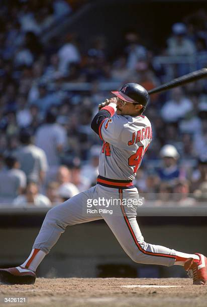 Reggie Jackson of the California Angels at bat during a 1982 season game