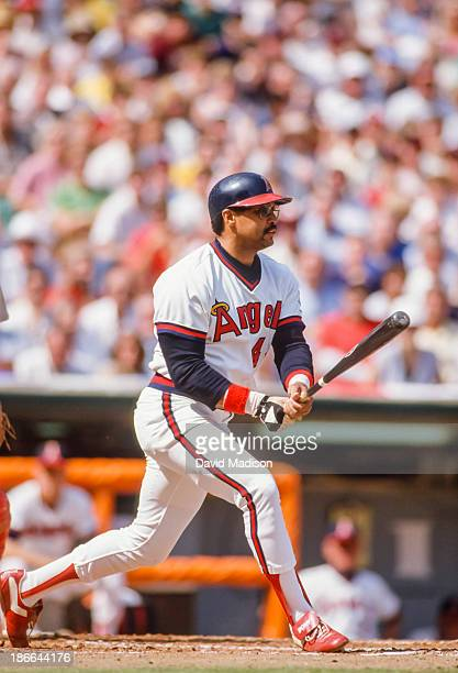 Reggie Jackson of the California Angels bats during Game 5 of the 1986 ALCS against the Boston Red Sox at Anaheim Stadium on October 12 1986 in...