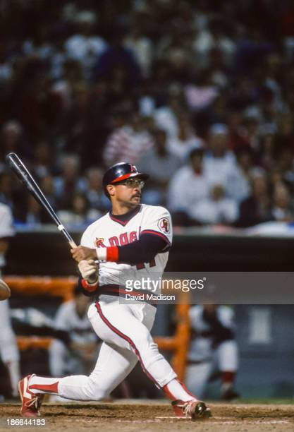 Reggie Jackson of the California Angels bats during the 1986 ALCS against the Boston Red Sox at Anaheim Stadium in October 1986 in Anaheim California