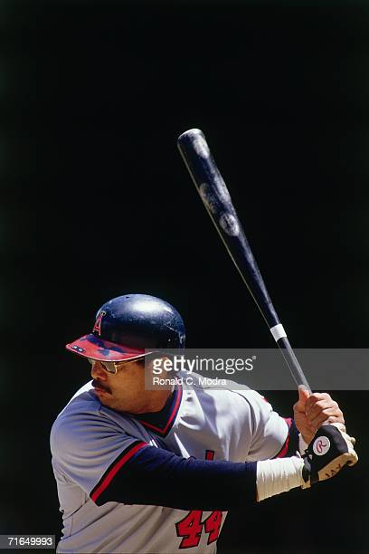 Reggie Jackson of the California Angels batting against the Detroit Tigers at Tigers Stadium during a regular season game on May 11 l984 in Detroit...