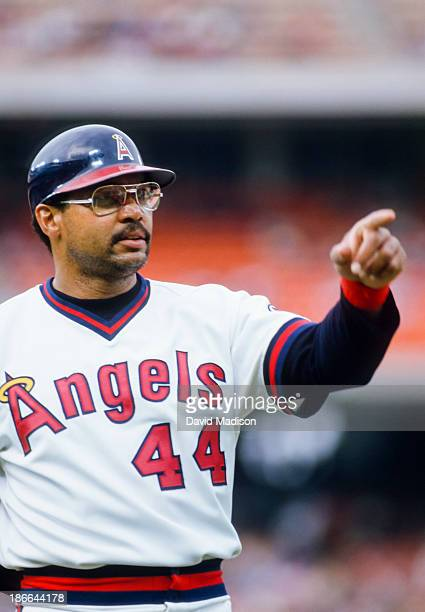 Reggie Jackson of the California Angels in action during the 1986 ALCS against the Boston Red Sox at Anaheim Stadium in October 1986 in Anaheim...