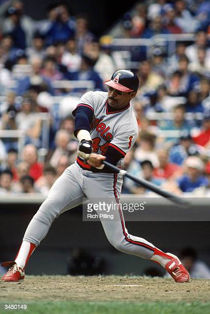 Reggie Jackson of the California Angels swings at a pitch during a May 1984 game against the Yankees at Yankee Stadium in the Bronx New York