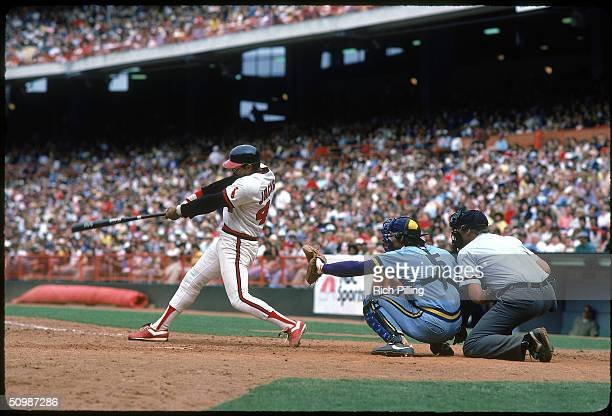 Reggie Jackson of the California Angels swings at a pitch during a game in 1982 at Anaheim Stadium in Anaheim California