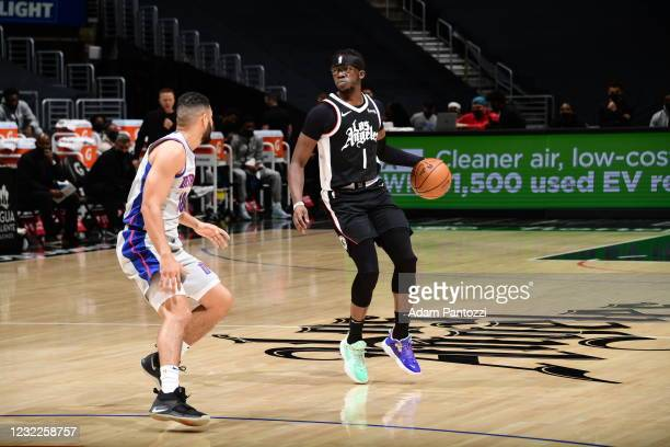 Reggie Jackson of the LA Clippers dribbles against the Detroit Pistons on April 11, 2021 at STAPLES Center in Los Angeles, California. NOTE TO USER:...