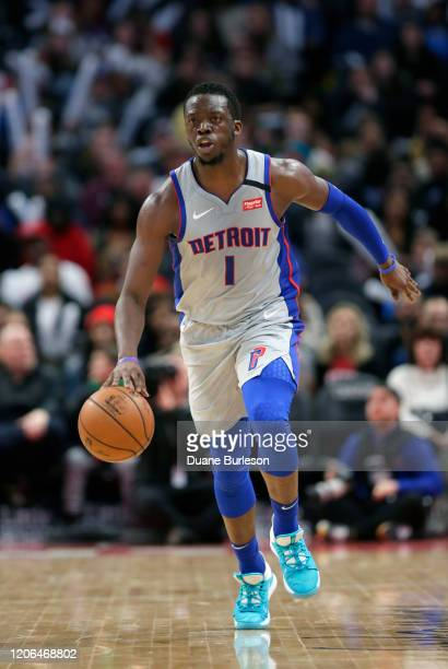 Reggie Jackson of the Detroit Pistons brings the ball up court against the New York Knicks during the second half at Little Caesars Arena on February...