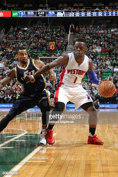 Reggie Jackson of the Detroit Pistons defends the ball against the Utah Jazz during the game on January 25 2016 at Vivint Smart Home Arena in Salt...