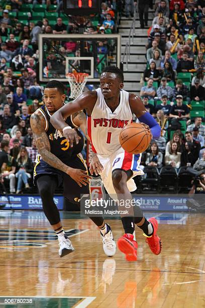 Reggie Jackson of the Detroit Pistons drives to the basket against the Utah Jazz during the game on January 25 2016 at Vivint Smart Home Arena in...