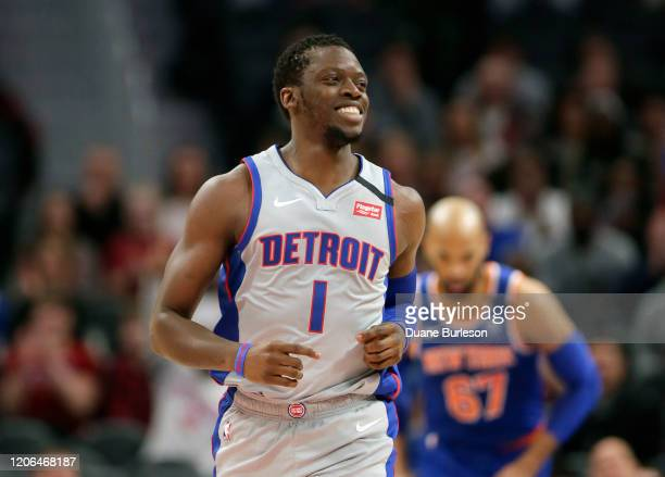 Reggie Jackson of the Detroit Pistons during the first half of a game against the New York Knicks at Little Caesars Arena on February 8 in Detroit...