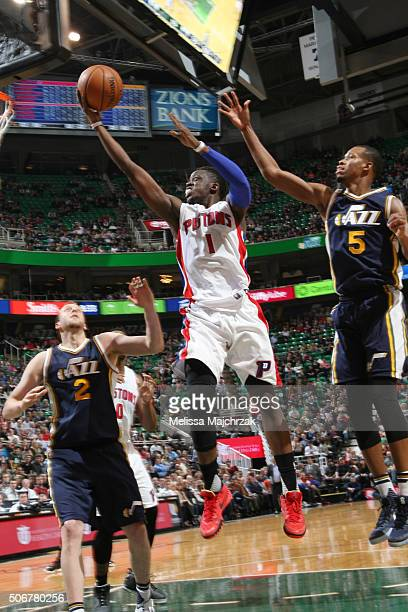 Reggie Jackson of the Detroit Pistons goes for the layup against the Utah Jazz during the game on January 25 2016 at Vivint Smart Home Arena in Salt...
