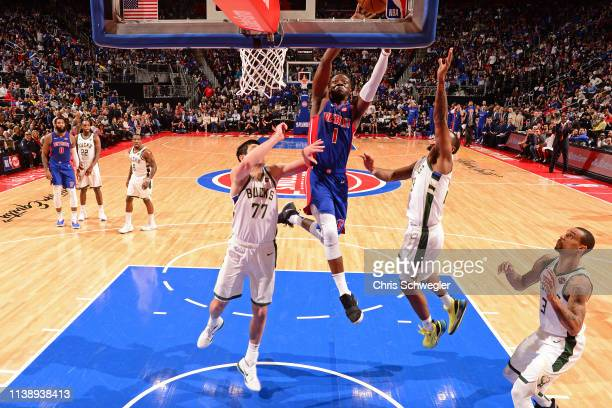 Reggie Jackson of the Detroit Pistons goes to the basket against the Milwaukee Bucks during Game Four of Round One of the 2019 NBA Playoffs on April...