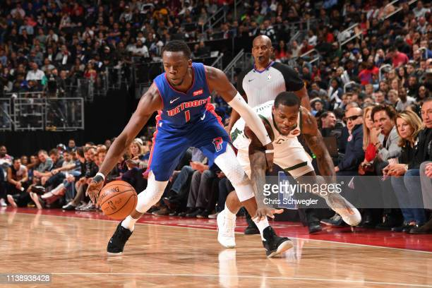 Reggie Jackson of the Detroit Pistons handles the ball against the Milwaukee Bucks during Game Four of Round One of the 2019 NBA Playoffs on April 22...