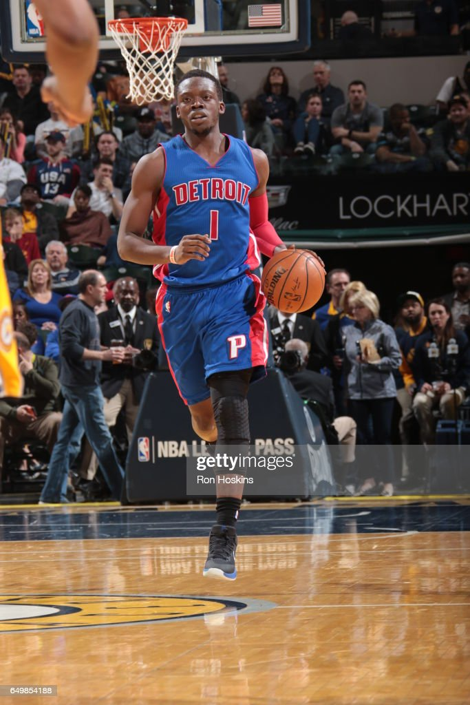 Reggie Jackson #1 of the Detroit Pistons handles the ball against the Indiana Pacers on March 8, 2017 at Bankers Life Fieldhouse in Indianapolis, Indiana.