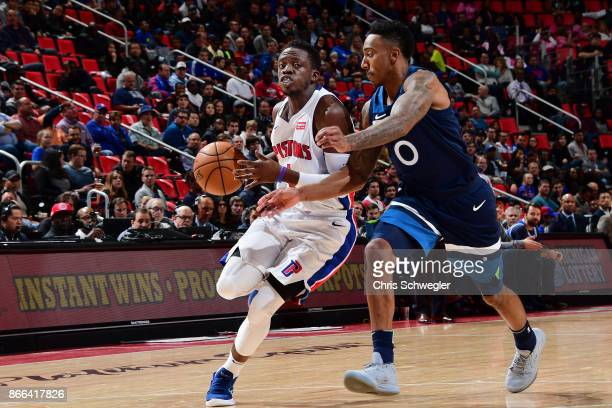 Reggie Jackson of the Detroit Pistons handles the ball against the Minnesota Timberwolves on October 25 2017 at Little Caesars Arena in Detroit...