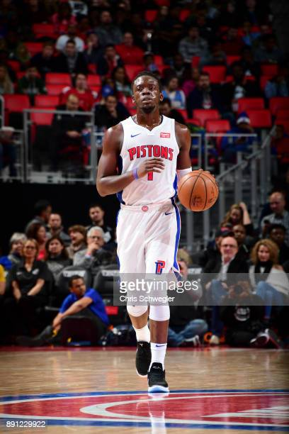 Reggie Jackson of the Detroit Pistons handles the ball against the Denver Nuggets on December 12 2017 at Little Caesars Arena in Detroit Michigan...