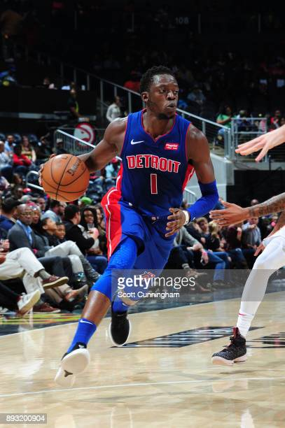Reggie Jackson of the Detroit Pistons handles the ball against the Atlanta Hawks on December 14 2017 at Philips Arena in Atlanta Georgia NOTE TO USER...